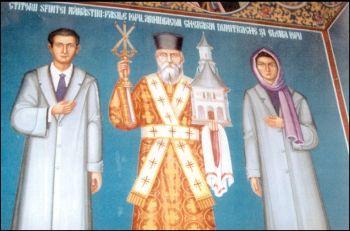 Elena Iovu cu sotul ei de-a dreapta si de-a stanga diaconului Gherasim, ca si ctitori aischitului