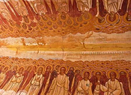 Fresca cu ceata sfintilor si a ingerilor de la o biserica din Serbia si Muntenegru