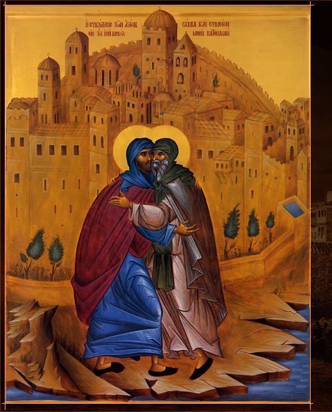 Sfantul Sava Savaitul si Evdochim la Lavra Sfantului Sava de la Betleem