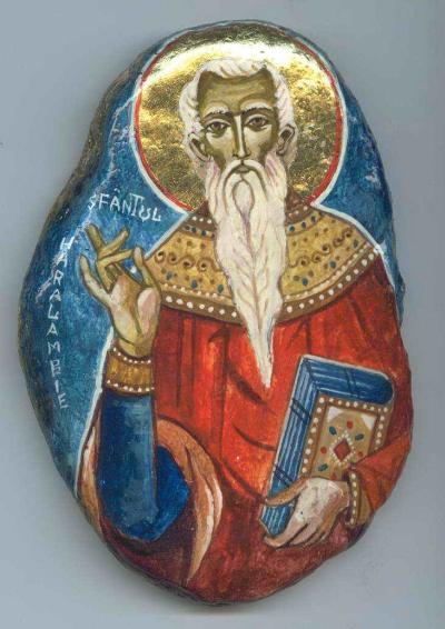 Sfantul Haralambie pictat pe piatra