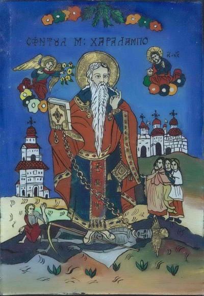 Sfantul Haralambie pictat pe sticla