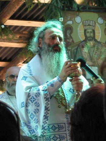 Ips Teofan slujind Dumnezeiasca Liturghie