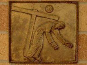 Prima caderea a lui Iisus cu crucea Via dolorosa