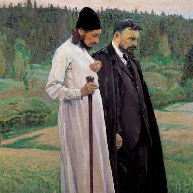 Pavel Florensky cu Serghei Bulgacov, tablou pictat de Nesterov