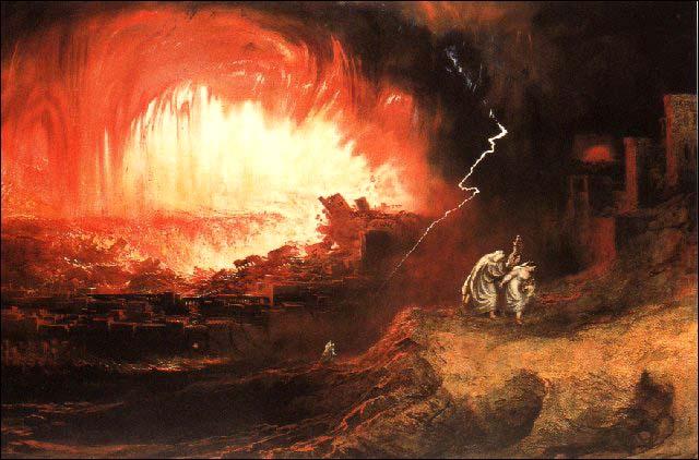 """Pierirea Sodomei şi Gomorei. """"Pentru aceea, Dumnezeu i-a dat unor patimi de ocară, căci şi femeile lor au schimbat fireasca rânduială cu cea împotriva firii; Asemenea şi bărbaţii lăsând rânduiala cea după fire a părţii femeieşti, s-au aprins în pofta lor unii pentru alţii, bărbaţi cu bărbaţi, săvârşind ruşinea şi luând cu ei răsplata cuvenită rătăcirii lor. Şi precum n-au încercat să aibă pe Dumnezeu în cunoştinţă, aşa şi Dumnezeu i-a lăsat la mintea lor fără judecată, să facă cele ce nu se cuvine."""" (Sf. Ap. Pavel către Romani 1, 26-28)."""
