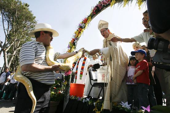 Cardnialul Roger Mahoney la o ceremonie in Los Angeles, anul trecut.