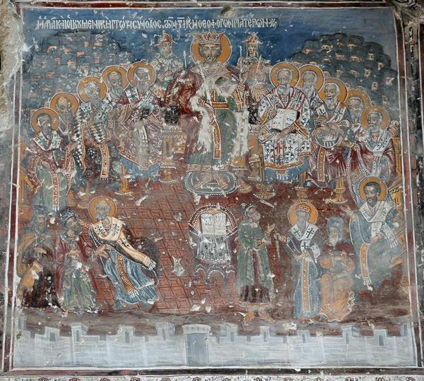 Sinodul I Ecumenic - frescă, biserica Soumela