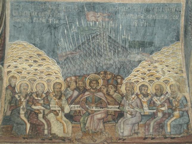 Sinodul I Ecumenic - frescă, biserica Stavropoleos, Bucureşti