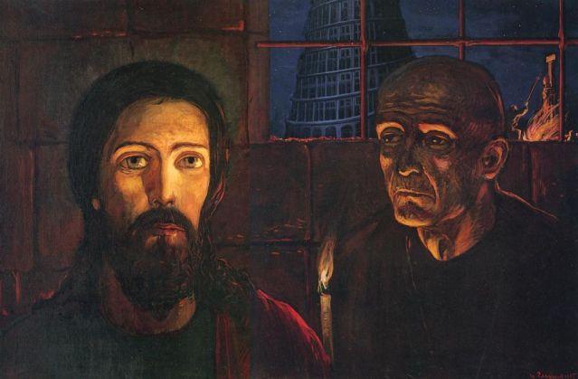 """Pictura din tripticul lui Ilya Glazunov, ilustrand Legenda Marelui Inchizitor din romanul """"Fratii Kramazov"""" a lui F. M. Dostoievski"""