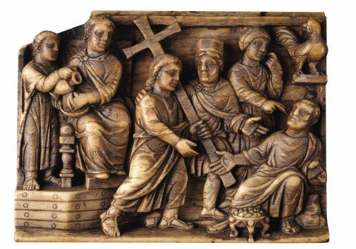 Placă de fildeş (Roma, anii 420-30), din colecţia British Museum - Londra, care reprezintă lepădarea lui Petru şi pe Pilat spălându-şi mâinile.